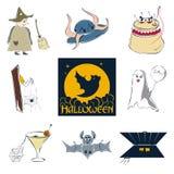 Insieme sveglio di Halloween del fumetto delle immagini Fotografie Stock Libere da Diritti