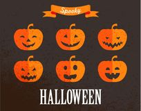 Insieme sveglio di Halloween delle icone della zucca Fotografia Stock Libera da Diritti