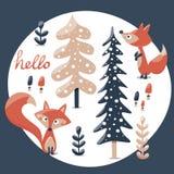 Insieme sveglio di inverno fatto con la volpe, coniglio, fungo, cespugli, piante, neve, alberi Immagini Stock
