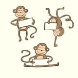 Insieme sveglio di vettore delle scimmie di scarabocchio Fotografia Stock