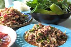 Insieme tailandese dell'insalata della papaia Fotografie Stock