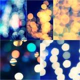 Insieme tonificato d'annata all'aperto vago blu e giallo della decorazione delle luci di evento di festival di Bokeh del collage  Immagini Stock Libere da Diritti