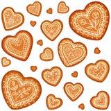 Insieme tradizionale del cuore del pan di zenzero di vettore decorato Immagini Stock