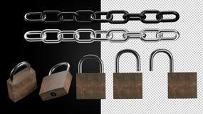 Insieme trasparente del lucchetto e della catena Fotografia Stock Libera da Diritti