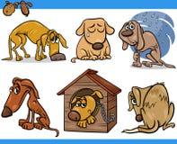 Insieme triste dell'illustrazione del fumetto dei cani randagi Immagine Stock Libera da Diritti