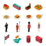 Insieme turistico isometrico della Gran Bretagna Fotografia Stock