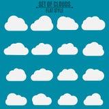 insieme Una collezione di nuvole leggere di bianco su un fondo scuro Illustrazione di vettore in uno stile piano Immagini Stock Libere da Diritti