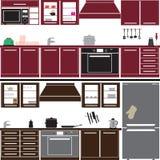 Insieme unitario della cucina con attrezzatura Immagini Stock Libere da Diritti