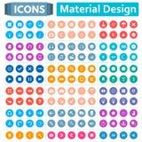 Insieme universale delle icone nello stile di progettazione materiale Fotografia Stock Libera da Diritti