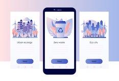 Insieme urbano di ecologia Spreco zero Modello dello schermo per lo Smart Phone mobile Stile piano illustrazione di stock