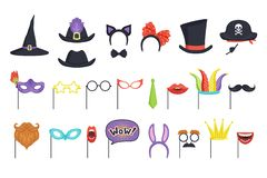 Insieme variopinto con le maschere ed i cappelli di carnevale Cappuccio della strega, vetri, barba, labbra, fumetto, orecchie di  illustrazione di stock