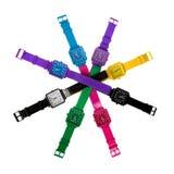 Insieme variopinto degli orologi di plastica Fotografia Stock