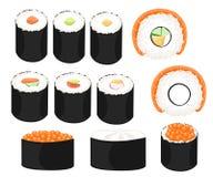 Insieme variopinto dei sushi della raccolta del rotolo di sushi dei tipi differenti bastoncini e ciotole Immagini Stock