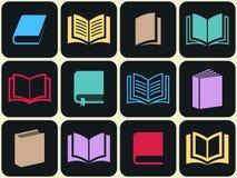 Insieme variopinto dell'icona del libro Immagini Stock Libere da Diritti