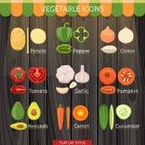 Insieme variopinto dell'icona delle verdure illustrazione di stock