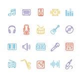 Insieme variopinto dell'icona di musica Vettore Fotografie Stock