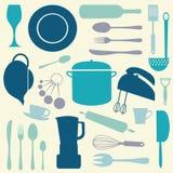 Insieme variopinto della cucina Fotografia Stock