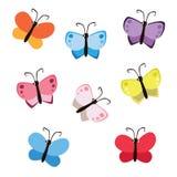 Insieme variopinto della farfalla di stile sveglio del fumetto isolato su fondo bianco Fotografia Stock