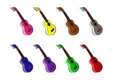 Insieme variopinto delle chitarre delle ukulele, del vettore del fumetto e dell'illustrazione, disegnati a mano, stile di schizzo illustrazione vettoriale