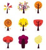Insieme variopinto di Autumn Vector Trees isolato su bianco Fotografia Stock Libera da Diritti