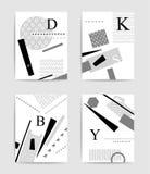 Insieme variopinto di tipografia e geometrico del modello Immagini Stock