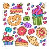 Insieme variopinto di vettore delle icone di scarabocchio dei dolci del forno Immagini Stock Libere da Diritti
