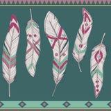 Insieme variopinto di vettore delle piume decorative etniche Illustrazione di Stock