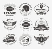 Insieme variopinto di vettore di logo di rugby, modello di logo del distintivo di calcio Immagine Stock
