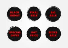 Insieme vendita finale eccellente degli autoadesivi di grande, Black Friday, prezzo caldo, offerta speciale Dipinto con una spazz Immagini Stock