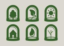 Insieme verde dell'icona Fotografia Stock