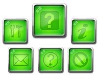 Insieme verde dell'icona Immagini Stock