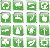 insieme verde dell'icona dell'ambiente Fotografie Stock Libere da Diritti