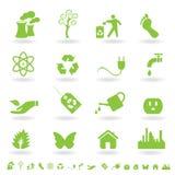 Insieme verde dell'icona di eco Fotografia Stock Libera da Diritti