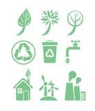 Insieme verde dell'icona di ecologia e di energia Fotografia Stock Libera da Diritti