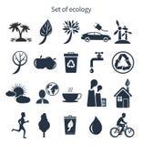 Insieme verde dell'icona di ecologia e di energia Immagini Stock Libere da Diritti