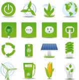 Insieme verde dell'icona di energia Immagine Stock