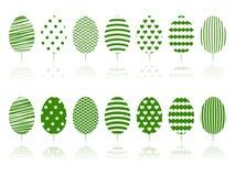 Insieme verde della decorazione degli alberi. Fotografia Stock Libera da Diritti