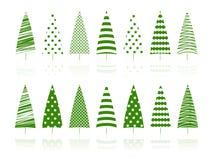 Insieme verde della decorazione degli alberi. Immagine Stock