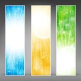 Insieme verticale della bandiera con i burst chiari Immagine Stock