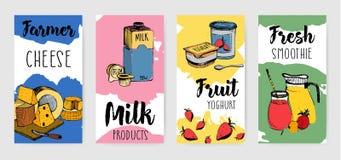 Insieme verticale variopinto dell'aletta di filatoio di pubblicità dei prodotti lattier-caseario Insegna disegnata a mano differe illustrazione vettoriale