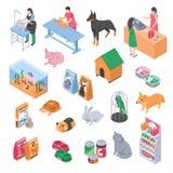 Insieme veterinario dell'icona governare del negozio di animali illustrazione vettoriale