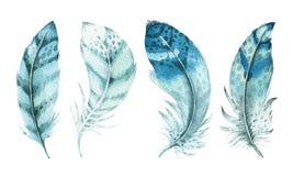 Insieme vibrante della piuma dell'acquerello disegnato a mano Stile di Boho Illustrazione isolata su bianco Progettazione delle p Immagini Stock