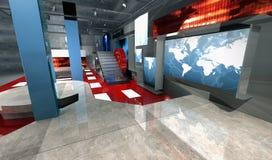 Insieme virtuale di notizie 3 d, vista laterale Fotografie Stock Libere da Diritti
