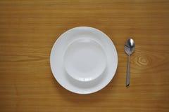 Insieme vuoto dei piatti dalla vista superiore Fotografie Stock