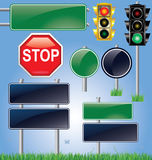Insieme vuoto del segnale stradale e del semaforo Immagine Stock