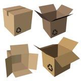 Insieme vuoto della scatola di cartone Immagini Stock Libere da Diritti