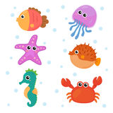 Insiemi degli animali marini Fotografia Stock Libera da Diritti