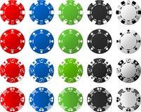 4 insiemi dei chip di mazza - 5 pezzi ciascuno Immagine Stock