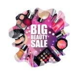 Insiemi dei cosmetici su fondo bianco Fotografia Stock Libera da Diritti