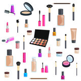 Insiemi dei cosmetici su fondo isolato fotografia stock